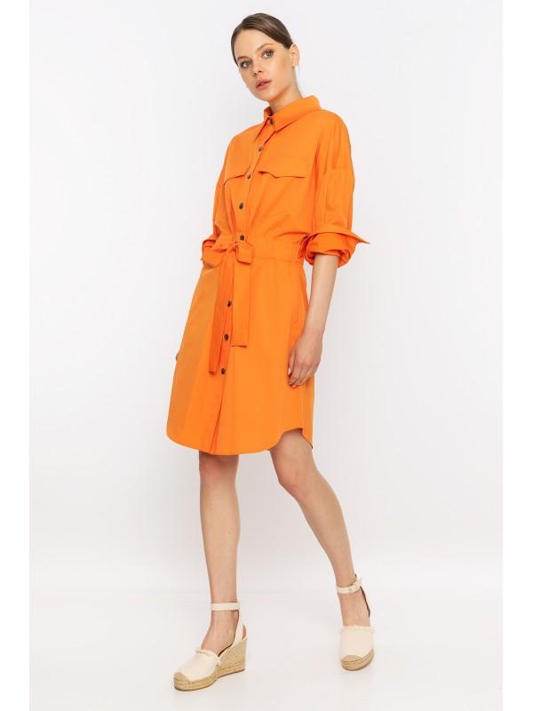 Arkası Baskılı Bağcıklı Uzun Ceket Elbise Orange