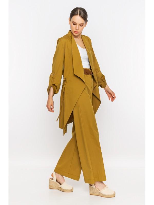 Arkası Baskılı Kol Detaylı Uzun Ceket Olive