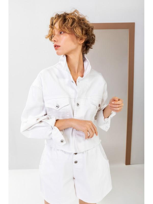 Arkası Baskılı Nakış Detaylı Denim Ceket Beyaz