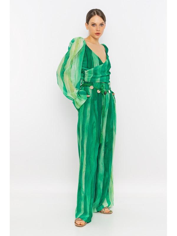 Desenli Kruvaze Bluz Yeşil