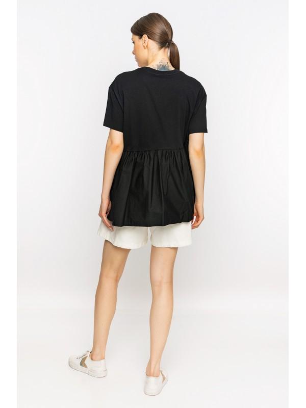 Belden Büzgülü Baskılı T-Shirt Siyah
