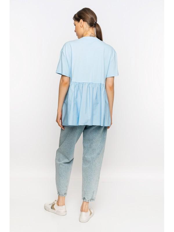 Belden Büzgülü Baskılı T-Shirt Mavi