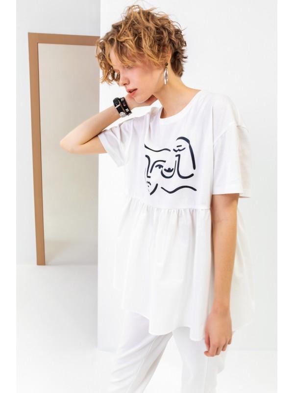 Belden Büzgülü Baskılı T-Shirt Ekru