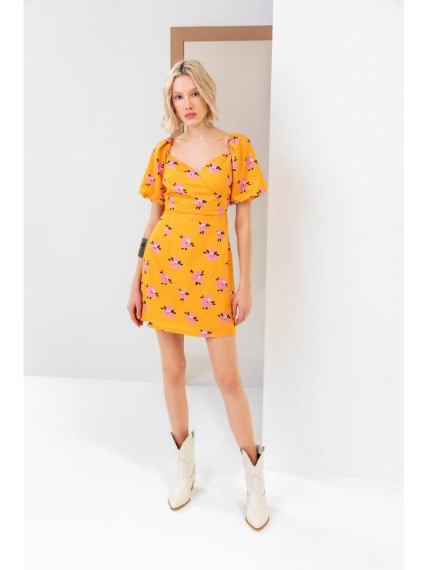 Arkası Gipeli Desenli Kruvaze Kısa Elbise Orange