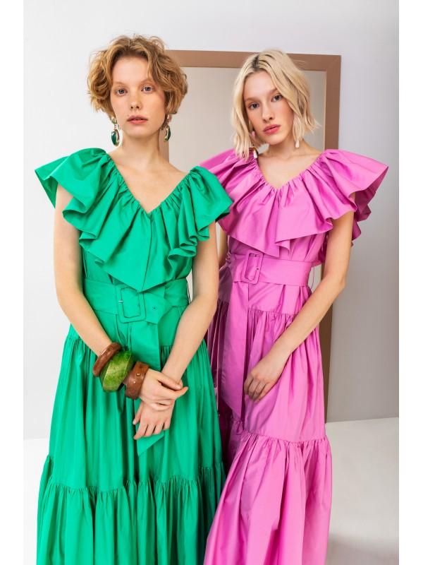 Farbalı Koton Kumaş Elbise Yeşil