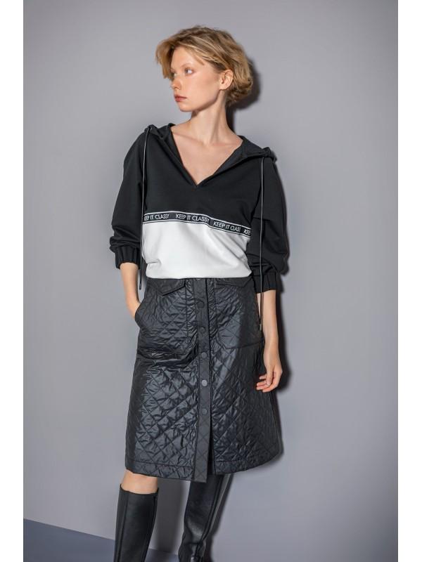 Çift Renkli Kapüşonlu Sweatshirt Siyah/Beyaz