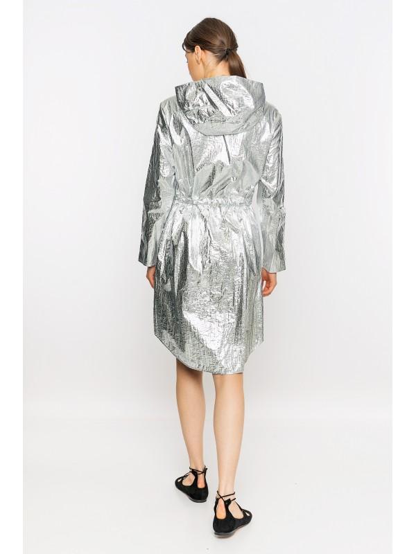 Kapüşonlu Metalik Yağmurluk Gümüş