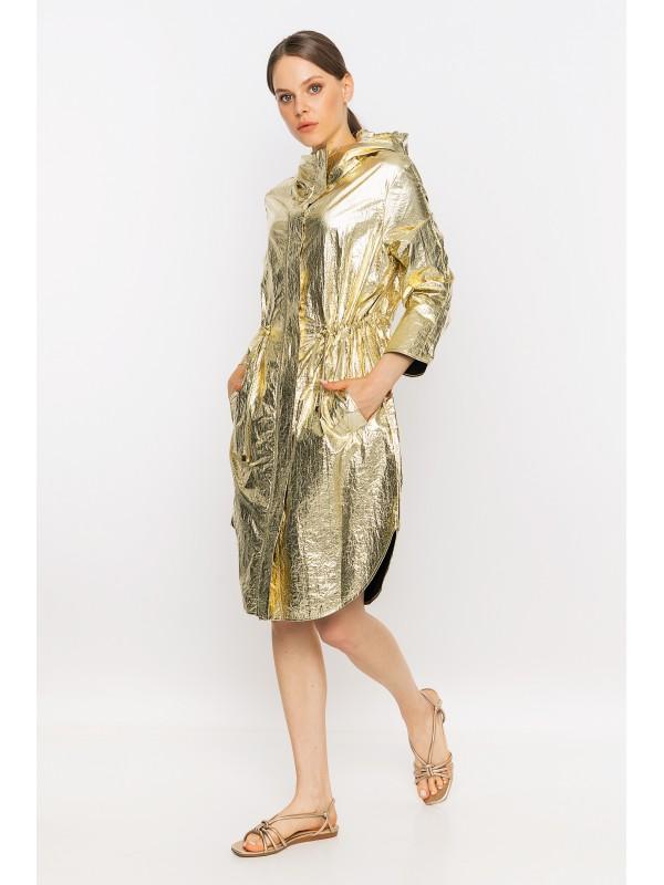 Kapüşonlu Metalik Yağmurluk Gold