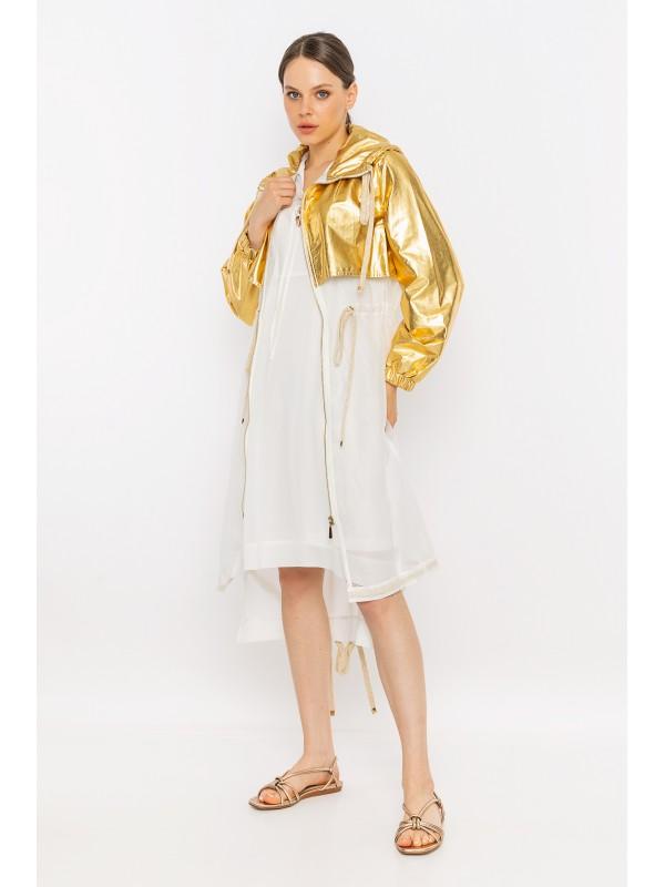 File Detaylı Metalik Yağmurluk Gold